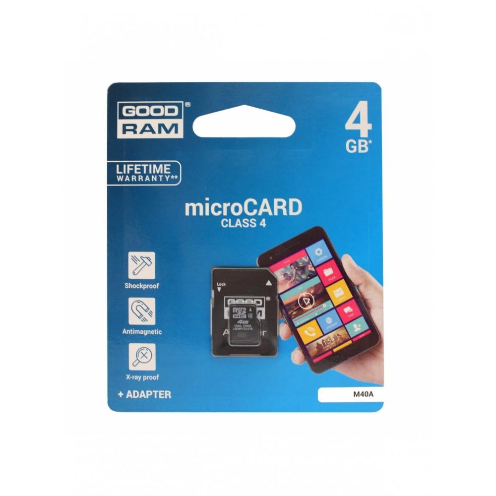 Atminties korta GOODRAM MicroSD 4Gb + SD adapter
