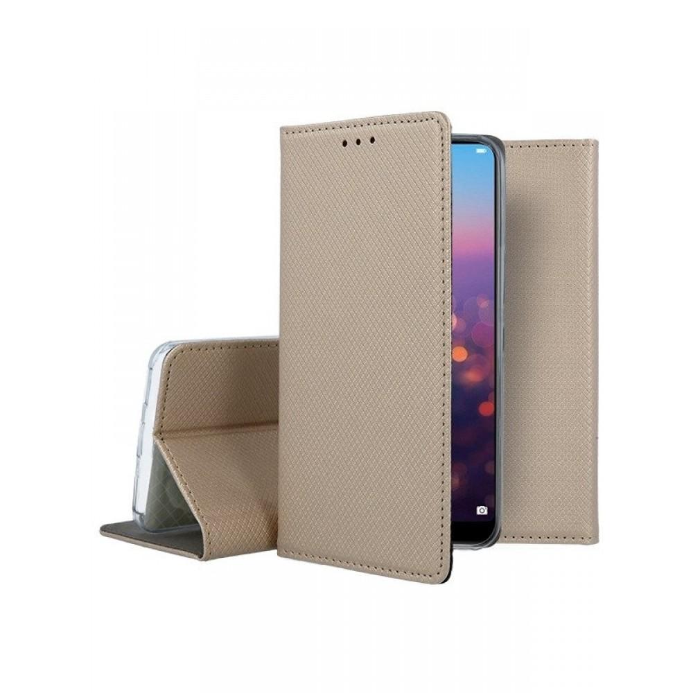 """Auksinis atverčiamas dėklas Huawei P20 telefonui """"Smart Magnet"""""""