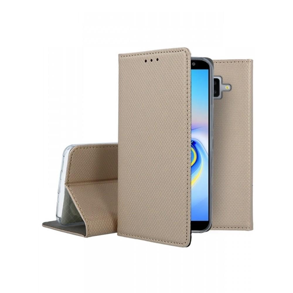 """Auksinis atverčiamas dėklas Samsung Galaxy J610 J6 Plus 2018 telefonui """"Smart Magnet"""""""