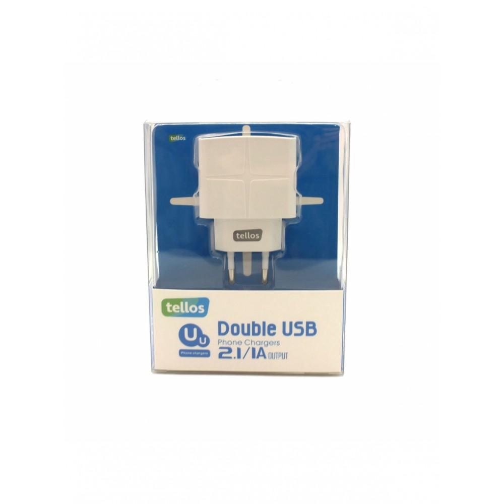 Baltas įkroviklis Tellos buitinis su USB jungtimi (dual) (1A+2.1A)