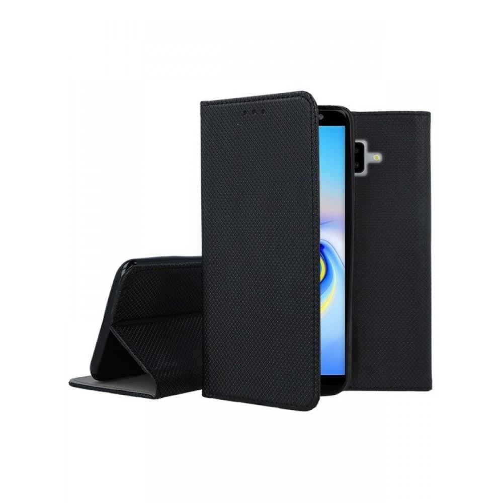 """Juodas atverčiamas dėklas Samsung Galaxy J610 J6 Plus 2018 telefonui """"Smart Magnet"""""""