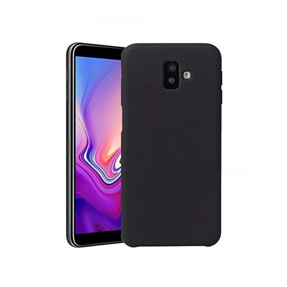 """Juodas silikoninis dėklas Samsung Galaxy J6 Plus 2018 telefonui """"Silicone Cover"""""""