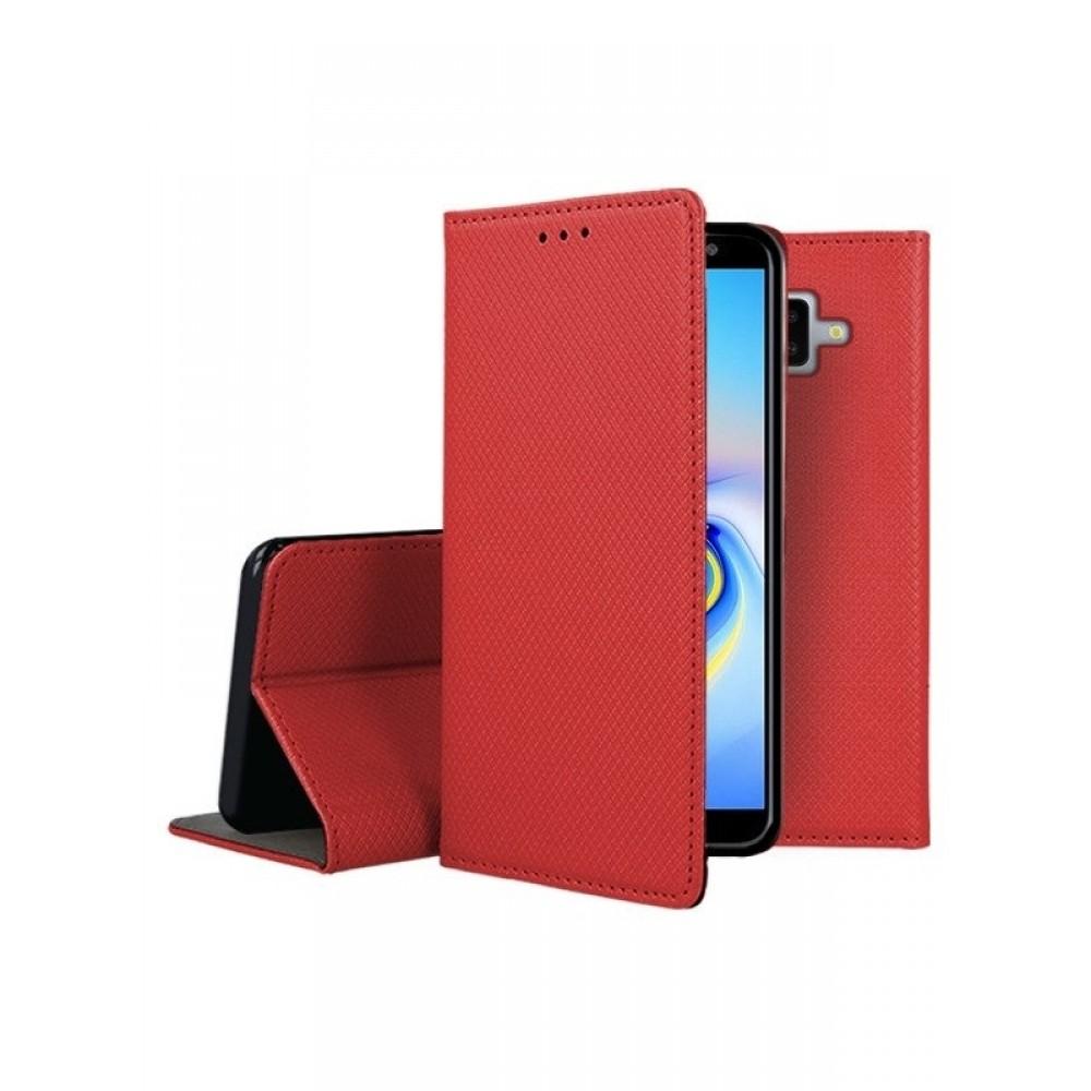 """Raudonas atverčiamas dėklas Samsung Galaxy J610 J6 Plus 2018 telefonui """"Smart Magnet"""""""
