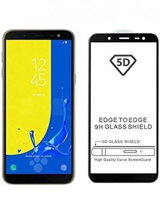 """5D Lenktas juodas apsauginis grūdintas stiklas J600 J6 2018 telefonui """"Full Glue"""""""