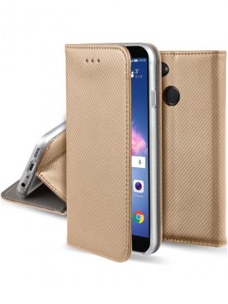 """Auksinis atverčiamas dėklas Huawei P Smart telefonui """"Smart Magnet"""""""