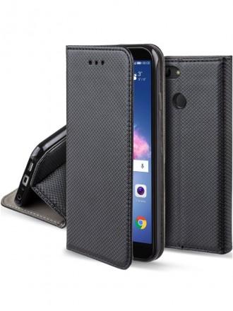 """Juodas atverčiamas dėklas Huawei P Smart telefonui """"Smart Magnet"""""""