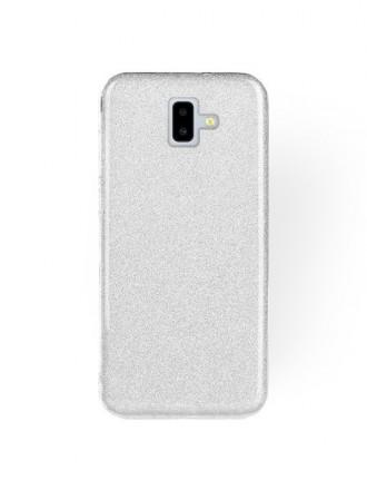 """Sidabrinis blizgantis silikoninis dėklas Samsung Galaxy J610 J6 Plus 2018 telefonui """"Shining"""""""