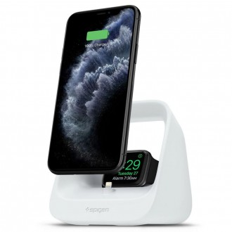 Baltas telefono krovimo stovas ''SPIGEN S316 2IN1 IPHONE & IWATCH''