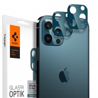 "Apsauginis grūdintas stiklas Samsung Galaxy iPhone 12 /12 Pro telefono kamerai apsaugoti ""Spigen Optik.TR Camera Lens"""