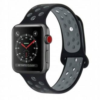 """Juoda-pilka apyrankė laikrodžiui Apple Watch 1/2/3/4/5 (42-44MM) """"Tech-Protect Softband"""""""