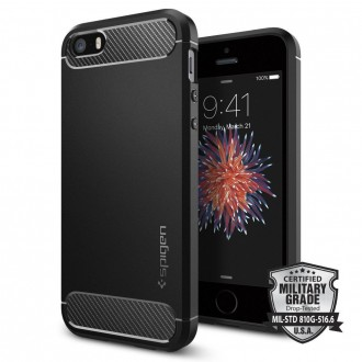"Juodas dėklas Apple iPhone 5S/5 telefonui ""Spigen Rugged Armor"""