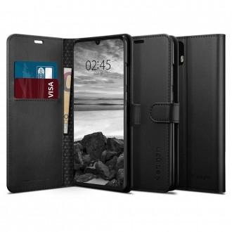 """Juodas atverčiamas dėklas Huawei P30 Pro telefonui """"Spigen Wallet S"""""""