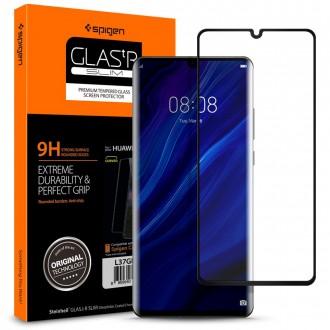 """Juodais apvadais apsauginis grūdintas stiklas """"Spigen Glas.TR""""  Huawei P30 Pro telefonui"""