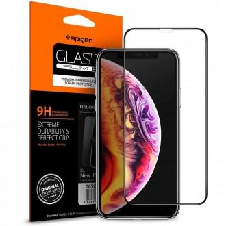 """Juodas apsauginis grūdintas stiklas Apple Iphone XS Max telefonui """"Spigen Glass Fc"""""""
