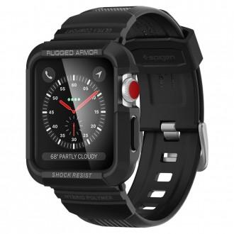 """Juodas dėklas laikrodžiui Apple Watch 1/2/3 (42MM) """"Spigen Rugged Armor"""""""