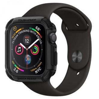 """Juodas dėklas laikrodžiui Apple Watch 4/5 (44MM) """"Spigen Tough Armor"""""""