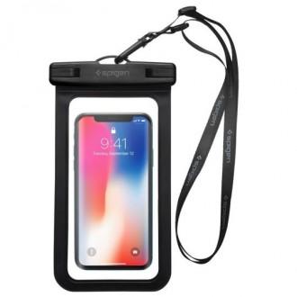 """Juodas univesalus vandeniui atsparus dėklas telefonui """"Spigen A600"""""""