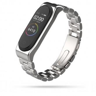 """Sidabrinė apyrankė laikrodžiui Xiaomi Mi Band 3/4 """"Tech-Protect Stainless"""""""