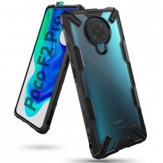 """Juodas dėklas Xiaomi Poco F2 Pro telefonui """"Ringke Fusion"""""""