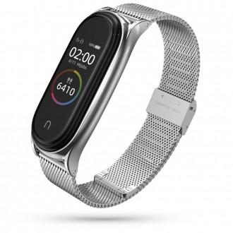 """Sidabrinė apyrankė laikrodžiui Xiaomi Mi Smart Band 5 """"Tech-Protect Milaneseband"""""""