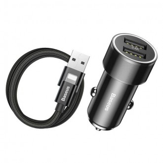 Automobilinis įkroviklis ''BASEUS 2IN1 2-PORT CAR CHARGER + LIGHTNING CABLE''
