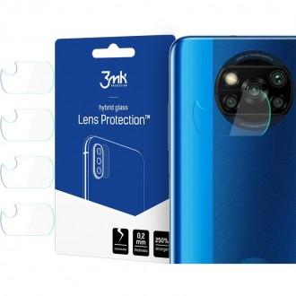 """Lankstus hibridinis stiklas galiniai kamerai Xiaomi Poco X3 NFC telefonui""""3MK FG"""" 4vnt"""