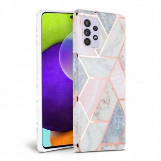Rožinis dėklas su marmuro efektu Samsung Galaxy A52 LTE/5G  telefonui