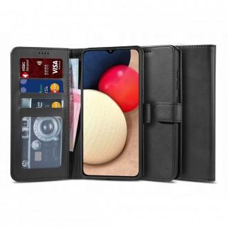 """Juodas atverčiamas dėklas Samsung Galaxy A02s telefonui """"TECH-PROTECT WALLET 2"""""""