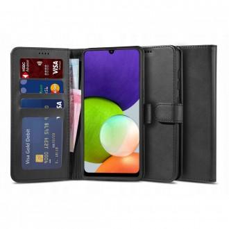 """Juodas atverčiamas dėklas Samsung Galaxy A22 4G telefonui """"TECH-PROTECT WALLET 2"""""""