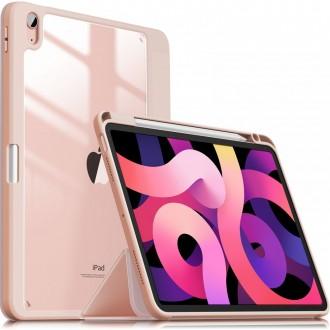 """Rožinis, išskirtinio dizaino atverčiamas dėklas """"INFILAND CRYSTAL CASE"""" iPad Air 4 2020"""