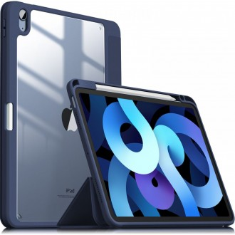 """Tamsiai mėlynas, išskirtinio dizaino atverčiamas dėklas """"INFILAND CRYSTAL CASE"""" iPad Air 4 2020"""