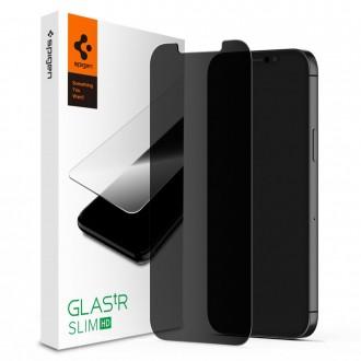 """Privatumą suteikiantis apsauginis grūdintas stiklas """"Spigen Glass.Tr PRIVACY"""" telefonui iPhone 12 /12 Pro"""