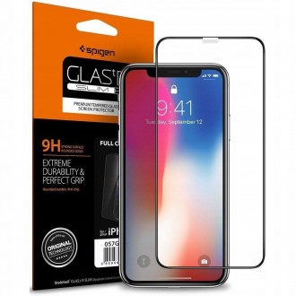 "Juodas apsauginis grūdintas stiklas Apple Iphone 11 telefonui ""Spigen Glass Fc"""