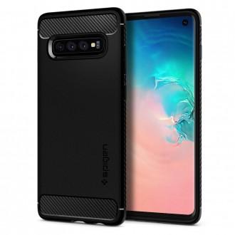 """Matinis juodas dėklas Samsung Galaxy S10 telefonui """"Spigen Rugged Armor"""""""