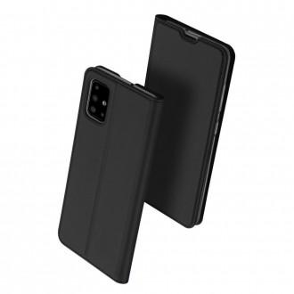 """Juodos spalvos atverčiamas dėklas Samsung Galaxy A41 telefonui """"Dux Ducis Skin"""""""