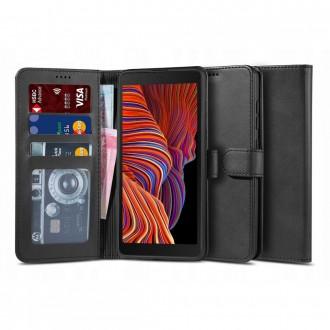 """Juodas atverčiamas dėklas Samsung Galaxy XCOVER 5 telefonui """"TECH-PROTECT WALLET 2"""""""