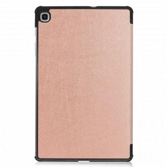 """Rožinis - auksinis atverčiamas dėklas Huawei MediaPad T5 10.1 """"Smart Leather"""""""
