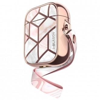 Rožinis dėklas Apple Airpods ausinėms ''SUPCASE COSMO MARBLE''