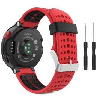 """Raudona-juoda apyrankė laikrodžiui Garmin Forerunner 220/230/235/630/735 """"Tech-Protect Smooth"""""""