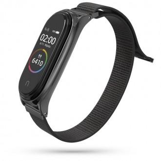 """Juoda apyrankė laikrodžiui Xiaomi Mi Smart Band 5 """"Tech-Protect Nylon"""""""