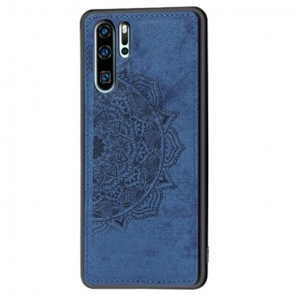 Mėlynas silikoninis dėklas ''Mandala'' su medžiaginiu atvaizdu telefonui Huawei P Smart 2021