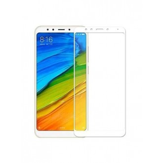 "5D baltas apsauginis grūdintas stiklas Xiaomi Redmi Note 5 / Note 5 Pro telefonui ""Full Glue"""