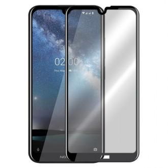 """5D juodais apvadais apsauginis grūdintas stiklas Nokia 2.2 telefonui """"Full Glue"""""""