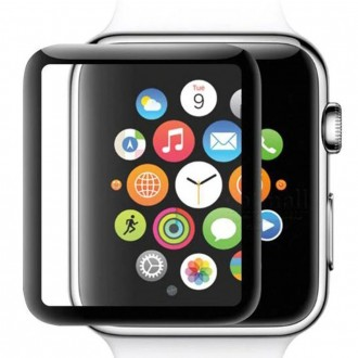 "5D juodas apsauginis grūdintas stiklas Apple Watch 44mm telefonui ""Full Glue"""