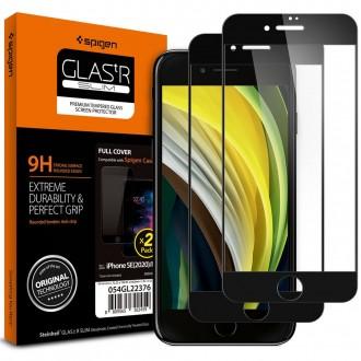 "Juodas apsauginis grūdintas stiklas Apple Iphone 7 / 8 / SE 2020 telefonui ""Spigen Glass Fc"""