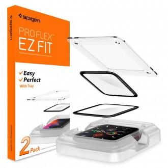"Juodas hybridinis apsauginis stiklas Apple Watch 4/5 (44MM) ""Spigen Proflex Ez Fit"" 2VNT"