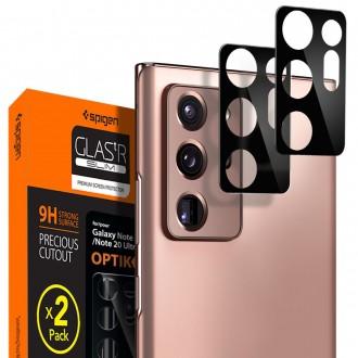 """Juodas apsauginis kameros stikliukas Samsung Galaxy Note 20 Ultra """"Spigen Optik.TR"""" (2vnt)"""