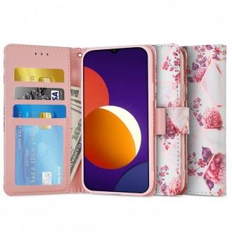 Atverčiamas gėlėtas dėklas/piniginė Tech-Protect GALAXY M12 telefonui