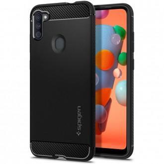 "Juodas dėklas Samsung Galaxy A11 telefonui ""Spigen Rugged Armor"""