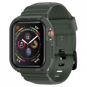 """Žalias dėklas laikrodžiui Apple Watch 4/5 (44MM) """"Spigen Rugged Armor"""""""